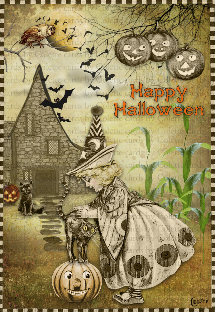 Halloween Little Witch and Her Cat Digital Collage Greeting Card22417