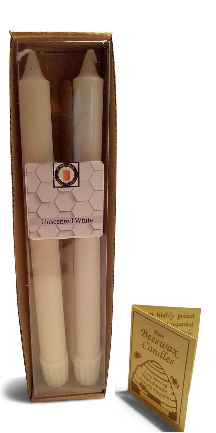 10 inch Natural White Beeswax Taper Candle Set   Beeswax Candle   Cotton Wick
