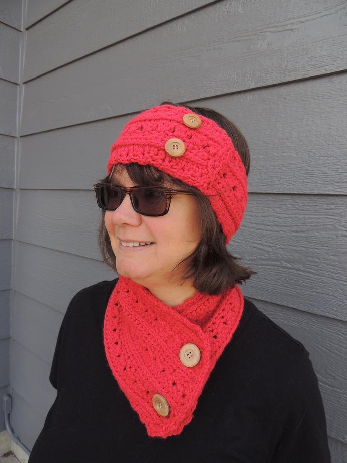 Crochet Cowl Scarf Ear Warmer Set for Her