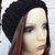 Hand Knitted Women's Black Winter Hat With A Black Pom Pom - FREE SHIPPING