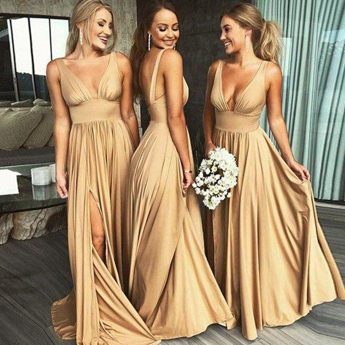 v neck champagne bridesmaid dresses long 2020 sexy a line cheap custom wedding