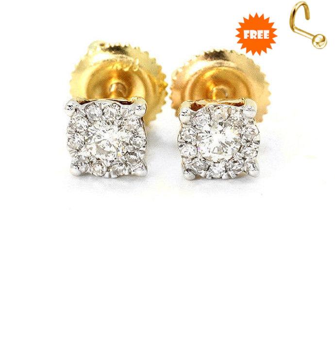 14K Solid Gold Plated Mid-Century Flower Stud Earrings, Vintage Diamond Jewelry,
