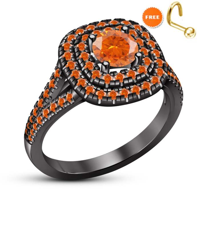 Round Black Diamond 10K White Gold Finish Oval Cut Diamond Engagement Wedding