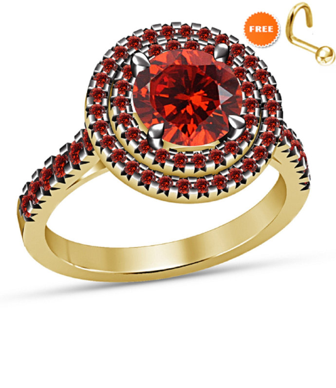 Round Red Garnet 10KT Yellow Gold Finish Diamond Engagement Wedding Ring 925