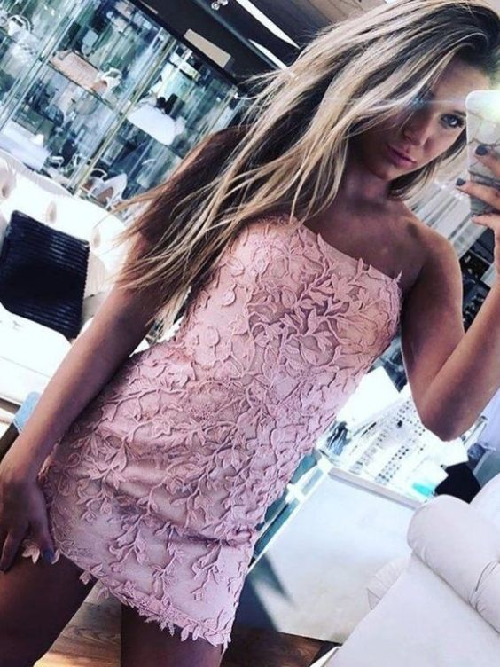 Sexy Strapless Short Lace Pink Party Dress, Cute Cocktail Dress