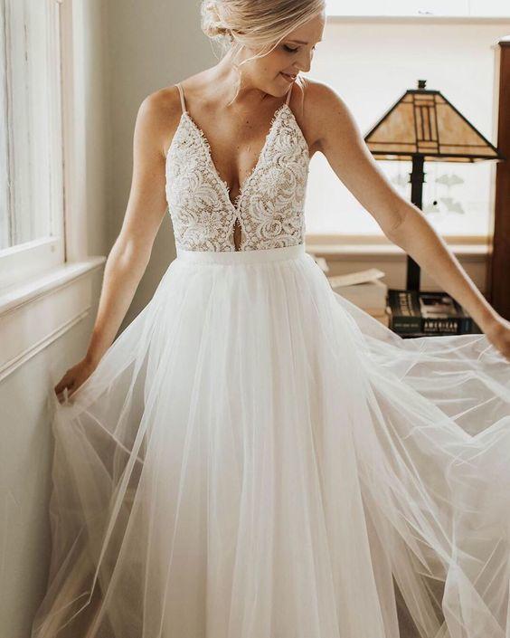 Sexy Spaghetti Straps White Appliques Wedding Dress, White Bridal Gowns
