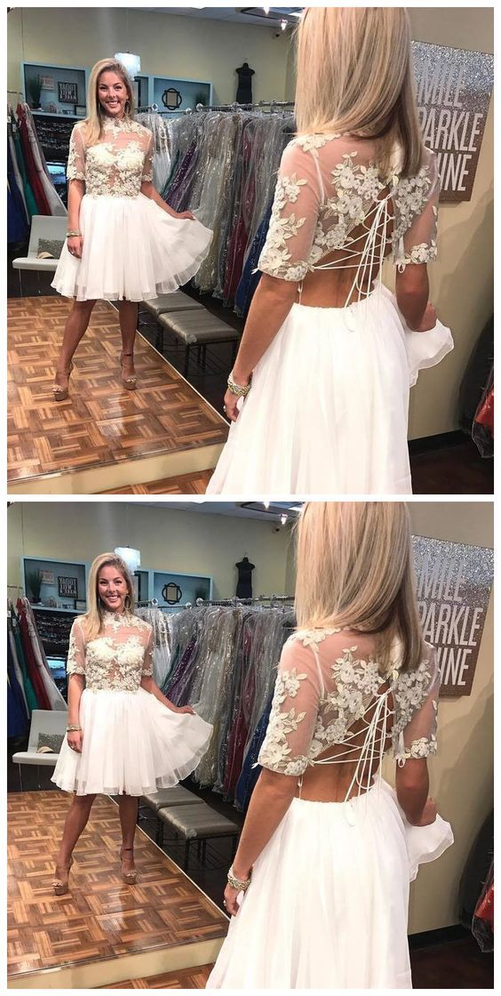 Half Sleeve White Appliques Short Prom Dress