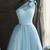One Shoulder Blue Short Homecoming Dress
