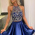 Beaded Navy Blue Two Piece Prom Dress, Short Homecoming Dresses