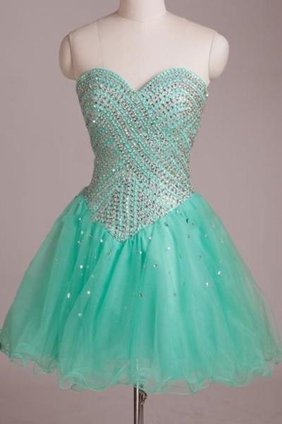 Mint Organza Sweetheart Sequins Short Homecoming Dress