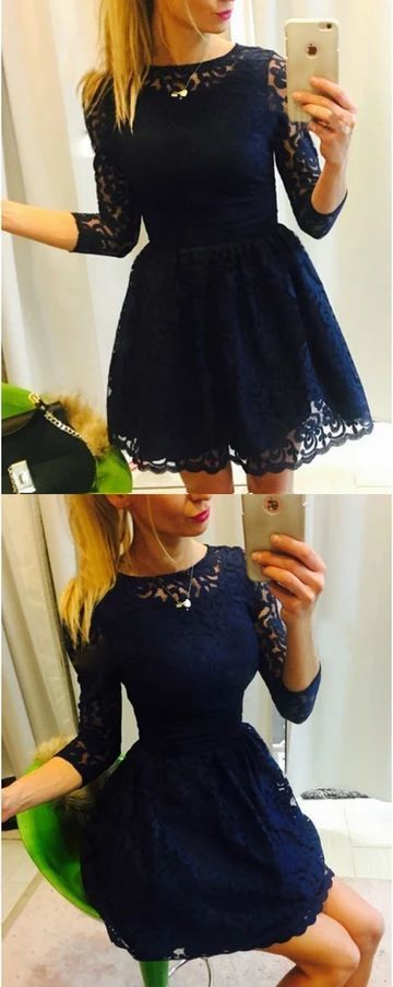3/4 Sleeve Lace Short Homecoming Dress, Cute A Line Prom Dress