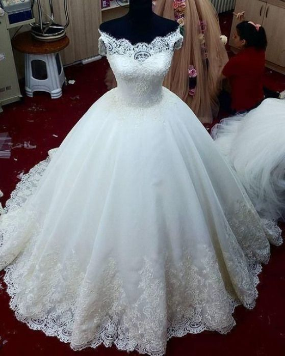Charming White Tulle Appliques Ball Gown Wedding Dress, Formal Bridal Gowns