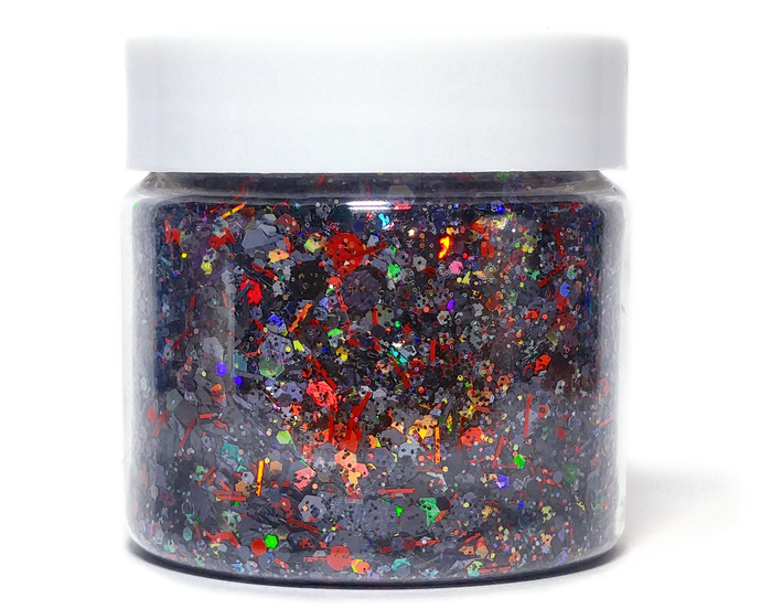 Black Rose - Black and Red Halloween Holographic Loose Cosmetic & Craft Glitter