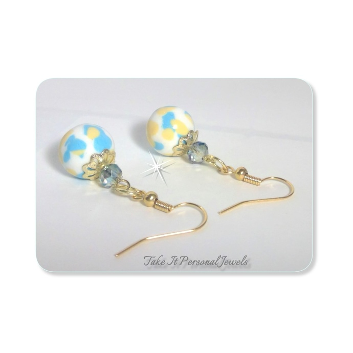 Pastel Marble Style Earrings, Handmade Polymer Beads Yellow, Blue, white