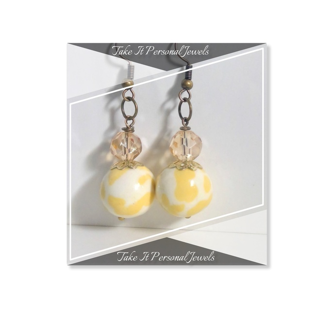 Earrings Yellow Marble Style Jewelry, High Gloss Polymer, Antique bronze ear