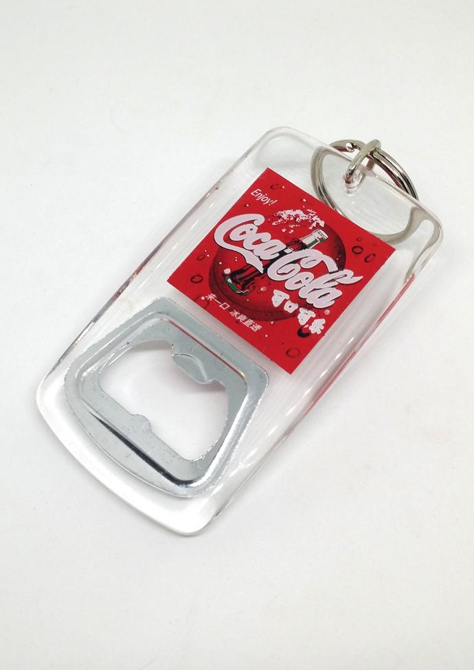 Coca Cola Acrylic Bottle Opener Keychain - Coke Collectible - New Unused
