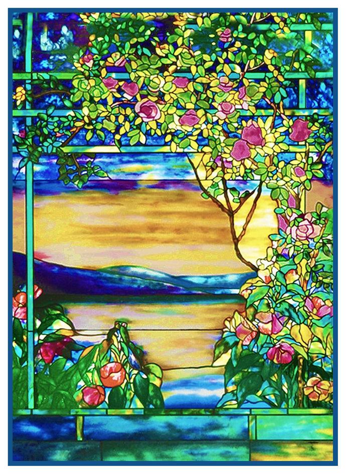 Digital DOWNLOAD Louis Comfort Tiffany's Landscape Roses Orenco Originals