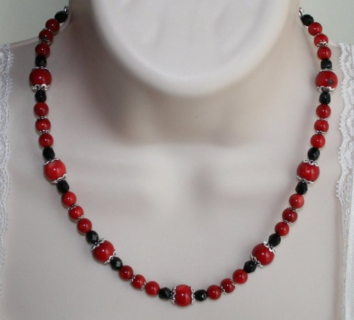 Red Coral Black Crystal Statement Necklace, Red and Black Tibetan Silver Jewelry