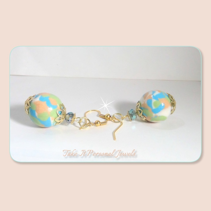 Pastel Marble Style Earrings Handmade Polymer Beads Jewelry, Dangle