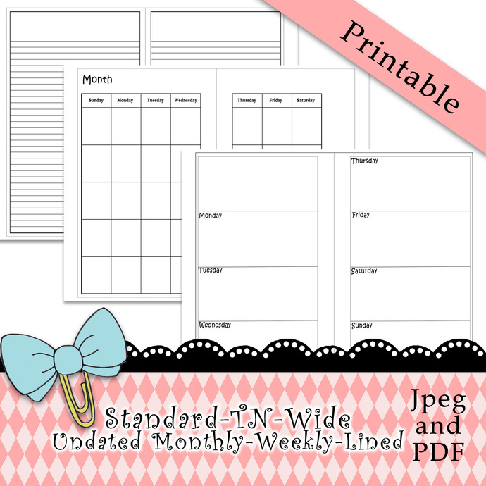 """Standard-Wide-TN-Monthly-Weekly-Lined Inserts"" Printable Download"