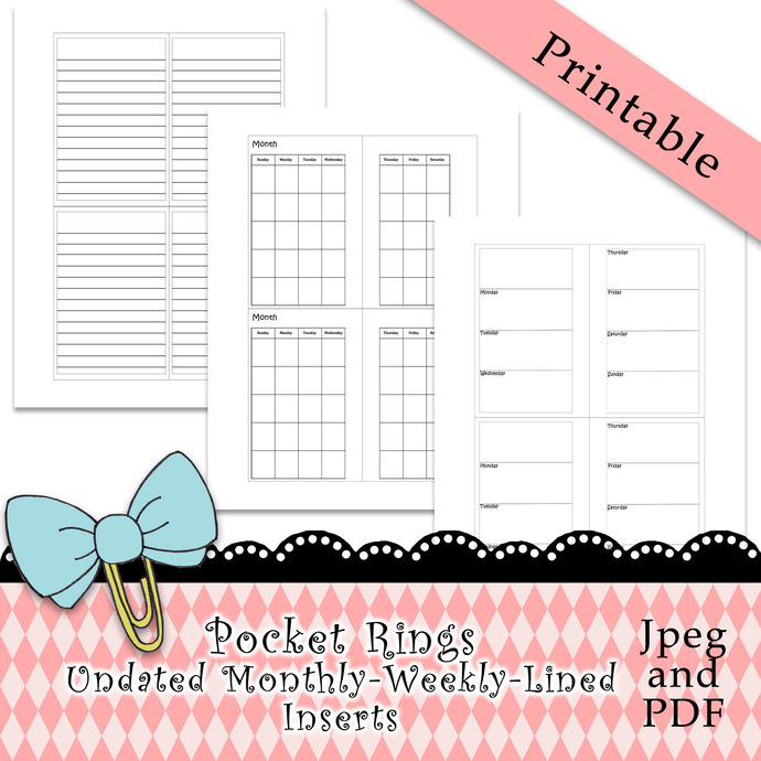 """Pocket Rings Monthly-Weekly-Lined Inserts"" Printable Download"