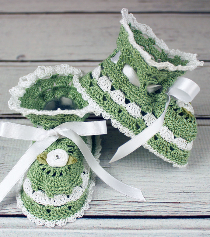Crocheted Sage Green White Baby Booties - 3-6 mos.