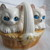 Pair of kittens in basket salt and pepper shakers / Angora cat salt pepper
