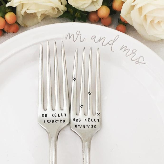 Vintage Wedding Forks - personalized Mr and Mrs dated with names and heart