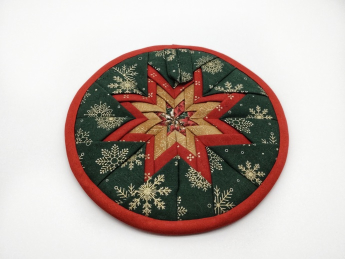 Quilted Christmas Star Hot Pad, Table Trivets, Christmas Kitchen Decor, New Home