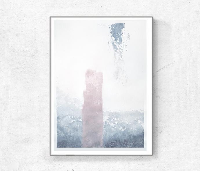 minimalism original painting,Acrylic on paper, original painting large, Gray