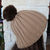 Hand Knitted Women's Camel Coloured Winter Hat With A Brown Pom Pom - FREE