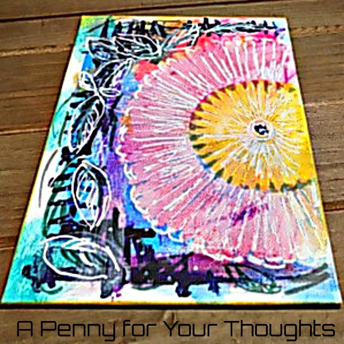 Bloom Mixed Media Canvas Covered Panel. Ready to Ship