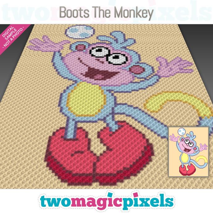 Boots the Monkey crochet graph (C2C, Mini C2C, SC, HDC, DC, TSS), cross stitch;