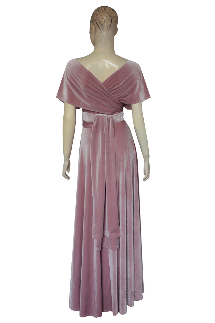 Infinity velvet dress Dusty pink bridesmaid gown Plus size evening dress