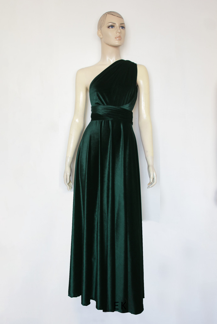 Green velvet dress Infinity bridesmaid gown Plus size formal dress  Maternity evening gown Long prom dress Multiway ball gown XXS-5XL
