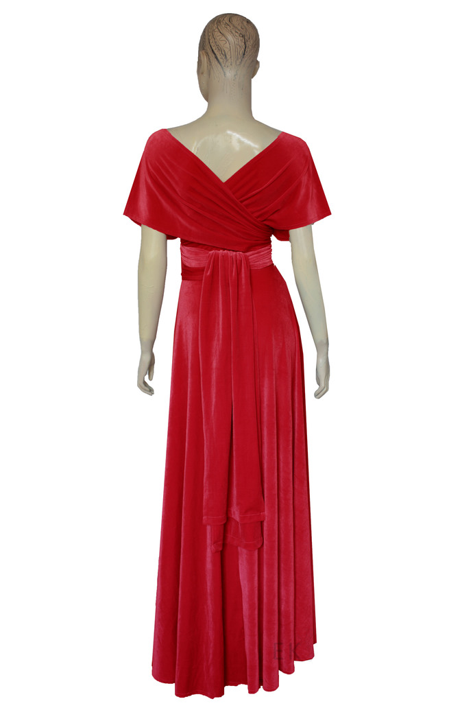 Red velvet dress Infinity evening gown Bridesmaids dress Plus size formal dress