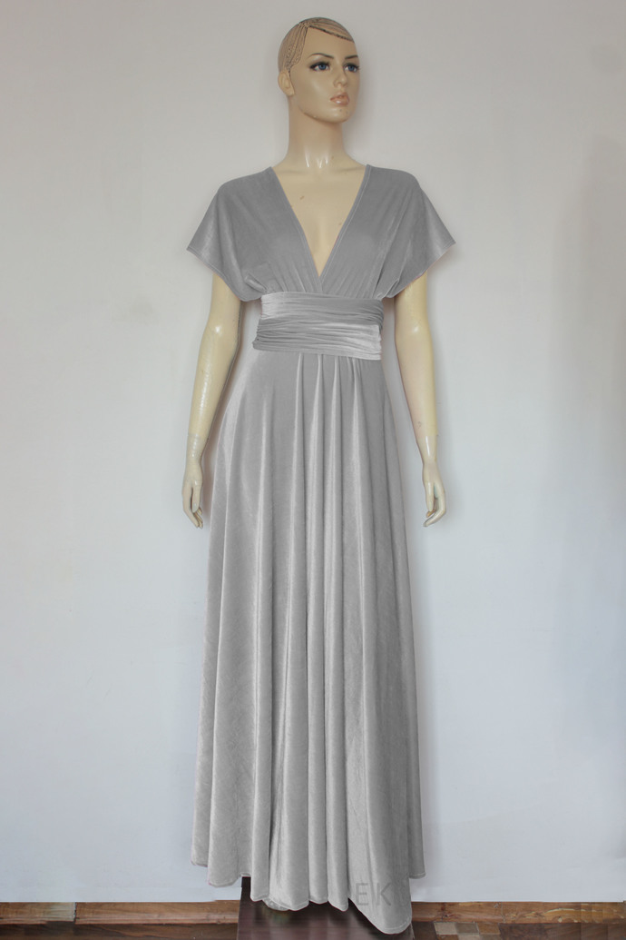 Silver gray velvet dress Wedding Gown Infinity bridesmaids dress Plus size