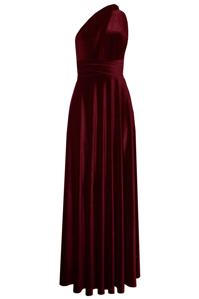 Infinity velvet dress Burgundy bridesmaids gown Plus size formal dress Wine
