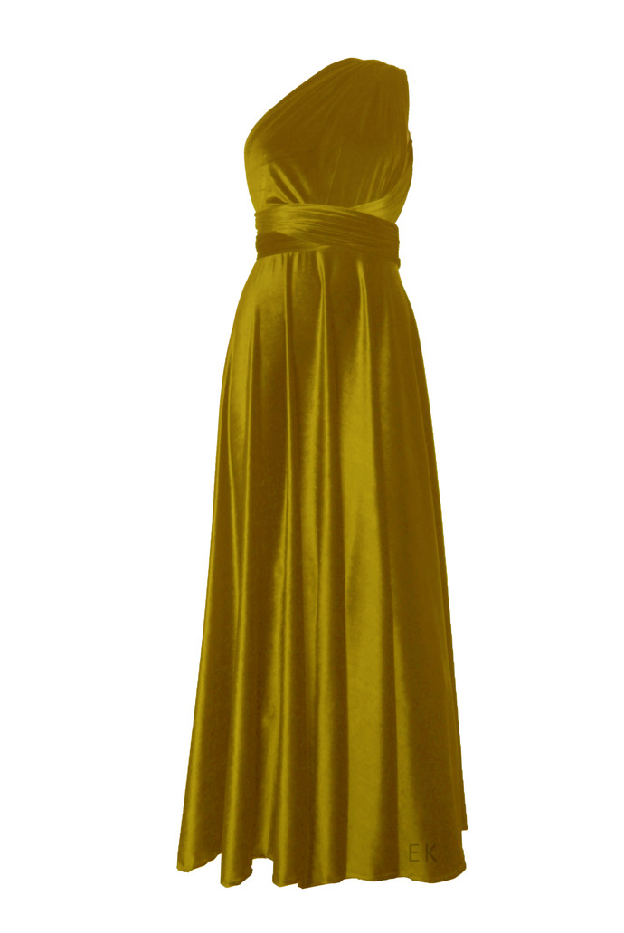 Infinity bridesmaid dress Mustard velvet gown Plus size formal dress Maternity