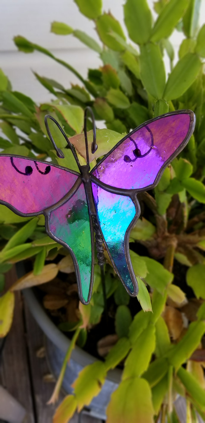 Black rainbow glass butterfly plant stake iridescent black 3d handmade stained