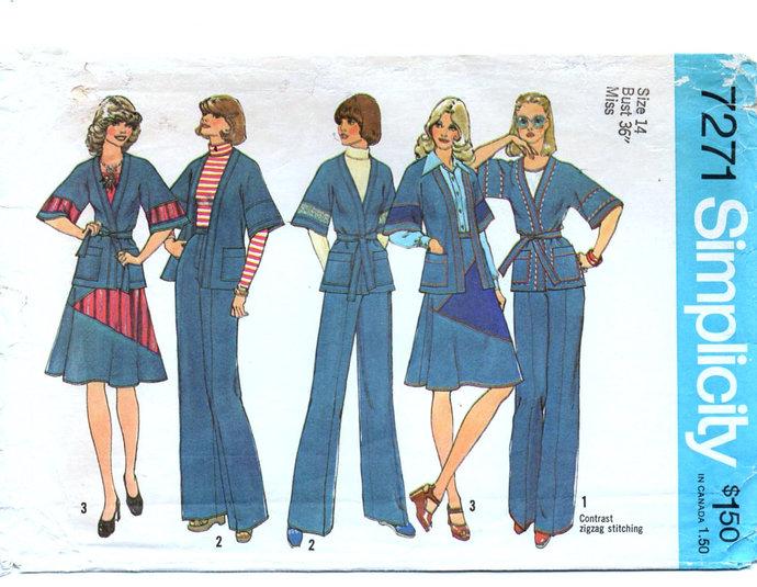 Simplicity 7271 Misses Wrap Jacket, Skirt, Pants 70s Vintage Sewing Pattern Size