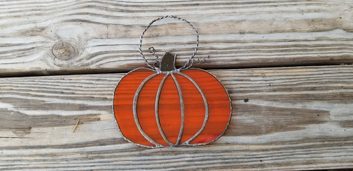Thanksgiving pumpkin suncatcher bright orange stained glass fall autum handmade