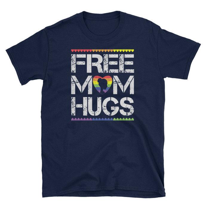 Womens Free Mom Hugs Shirt Gay Pride Gift Transgender Rainbow Flag, Free mom