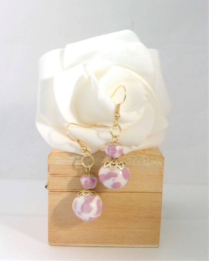 Lavender and White Marble Style Earrings Handmade Polymer Beads, hypoallergenic