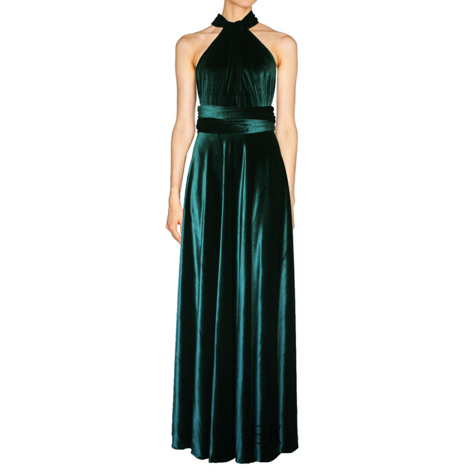Green velvet dress Infinity bridesmaid gown Plus size formal dress Maternity