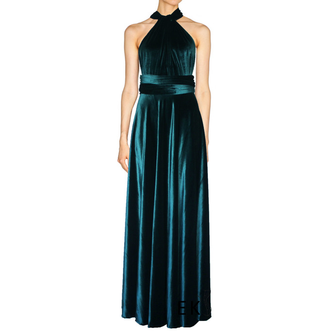 Teal bridesmaid dress Infinity velvet gown Plus size formal dress Maternity