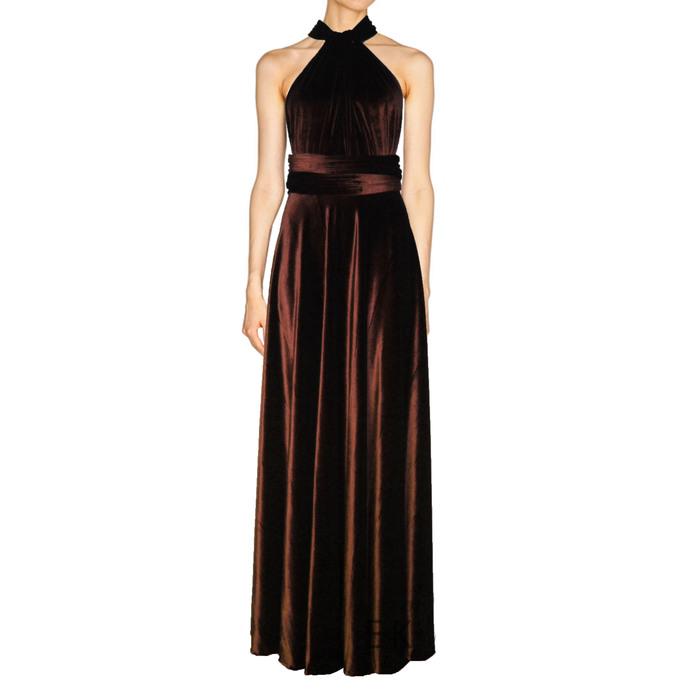 Infinity velvet dress Brown bridesmaids gown Plus size formal dress Multiway