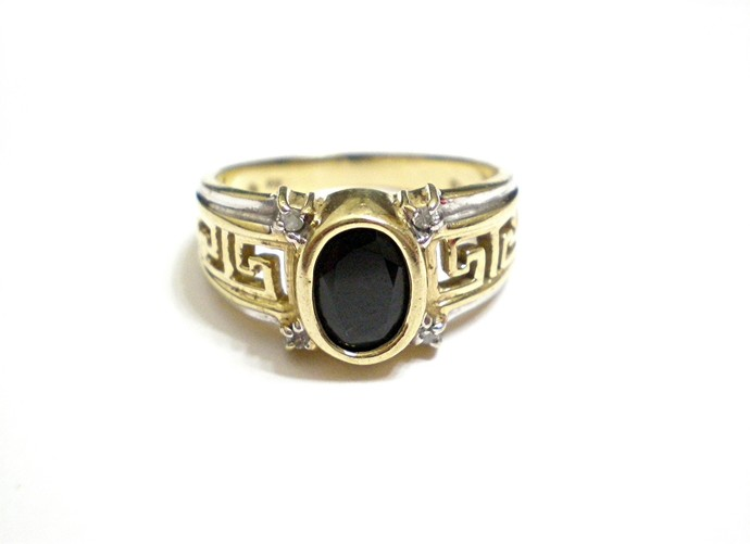 Onyx ring in yellow and white gold with accent diamonds, size 6 3/4 bezel set
