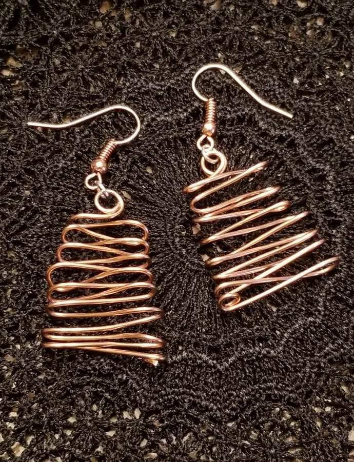 Copper ZigZag Earrings