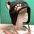BLACK/ORANGE paw print AVIATOR earflap KITTY cat